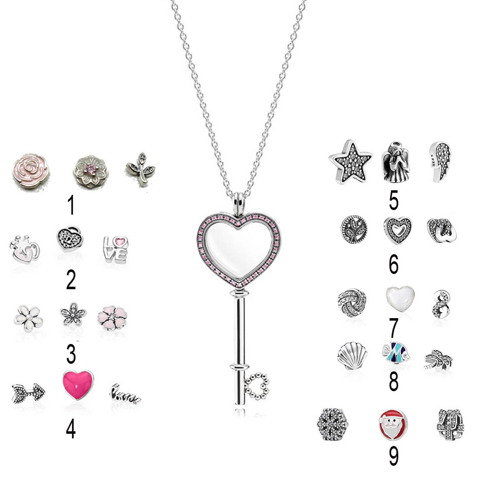 925 Silver Necklace for Women Sparkling Pink Heart Key Locket Necklace Large Size Pave CZ fit Pandora fine Jewelry vintage heart shape locket necklace for women
