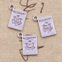 a188efe1a9f9 6 piezas encantos libro pasaporte 18 14mm antiguo hacer colgante ajuste  Vintage plata tibetana. DIY pulsera collar