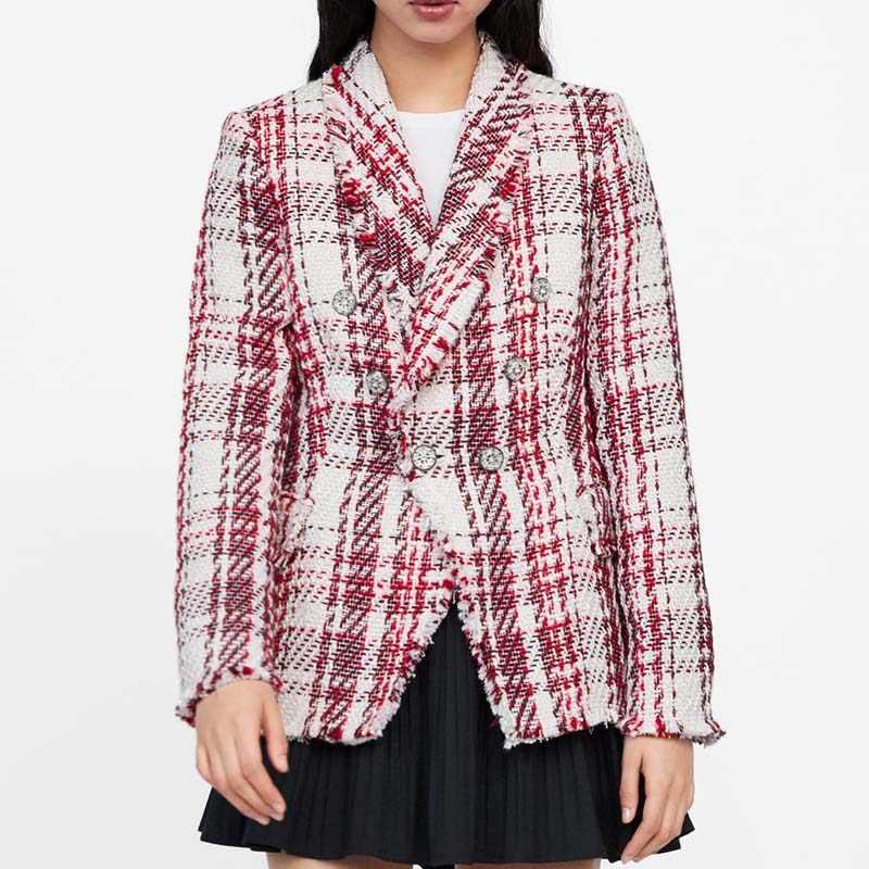 completamente elegante gran calidad gran venta Vintage Tweed Plaid Blazer Women 2019 Spring Blend Jacket Coat Mujer  Fashion Office Ladies Female Blazer Coat Autumn AO872