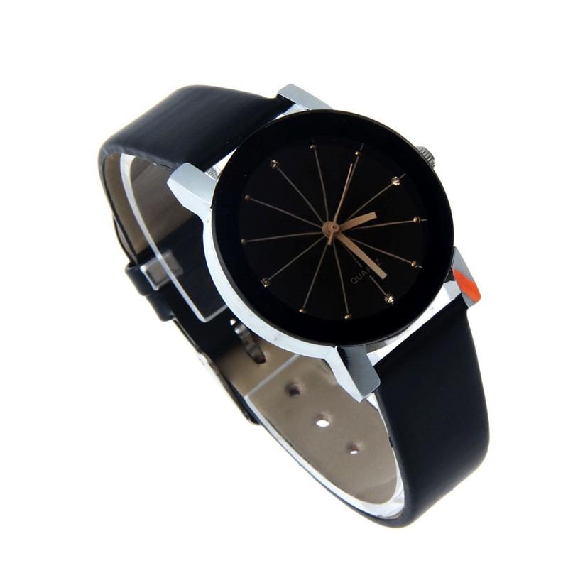 2017 FashionWoMen Quartz Dial Clock Läder Armbandsur Runda Väska