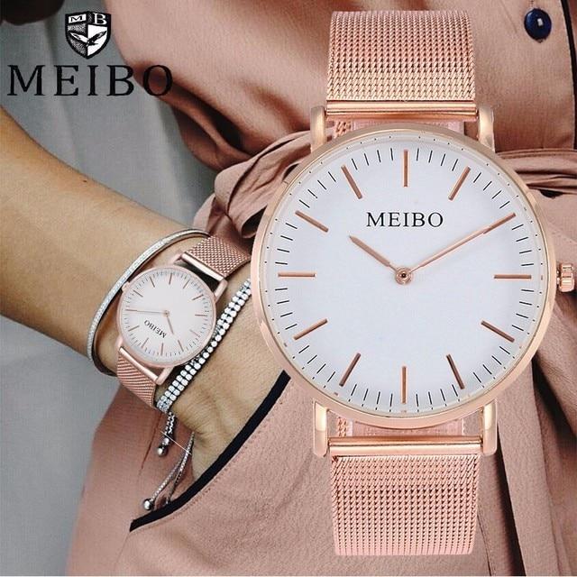 MEIBO Brand Unisex Stainless Steel Ultra Thin Watch Fashion Casual Women Men Qua