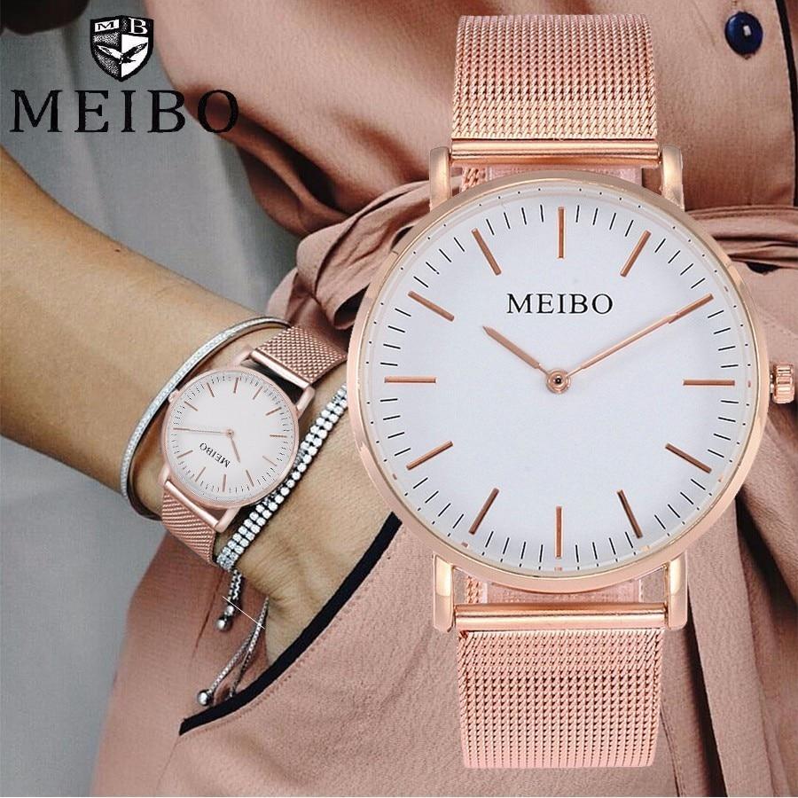 Uhren GroßZüGig Meibo Marke Unisex Edelstahl Ultra Dünne Uhr Mode Lässig Frauen Männer Quarzuhr Geschenk Uhr Stunden Relogio Feminino üPpiges Design