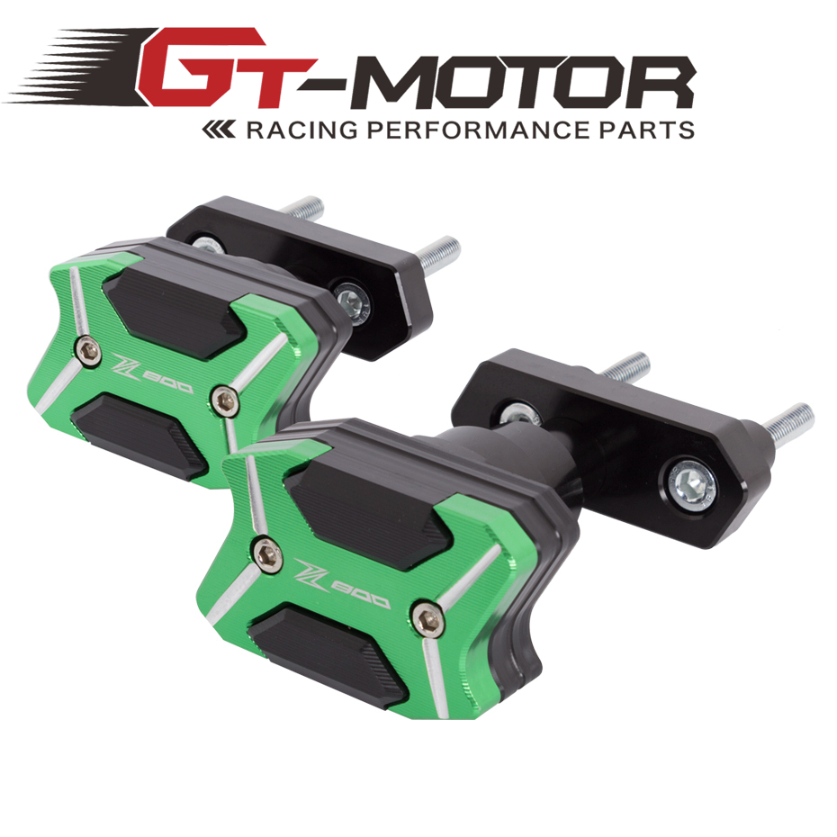 GT Motor- 2017 NEW CNC Aluminum  Left and Right Motorcycle Frame Slider For  KAWASAKI Z800 2013-2015  Anti Crash pads Protector motorcycle cnc aluminum frame sliders crash pads protector suitable for kawasaki z800 2012 2013 2014 2015 2016 green