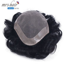 MRS HAIR Mens Toupee 100% Remy Human Hair Lace Thin PU Replacement System Toupees Men Hair Wigs(China)