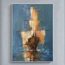 Hand Painted retro Abstract Medieval sailing pirate ship Home Decor Hang old Picture seascape wall art Oil Painting On Canvas