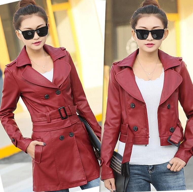 Кожаный Тренч, женские тонкие повседневные пальто, верхняя одежда, женская одежда для работы, весенняя и осенняя кожаная куртка для женщин, стиль