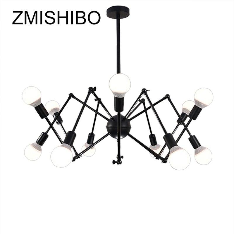 ZMISHIBO Spider Shape 8/12/16 Heads E27 110V-220V Pendant Lamp Black Iron Ceiling Droplights For Living Room Lighting Fixtures