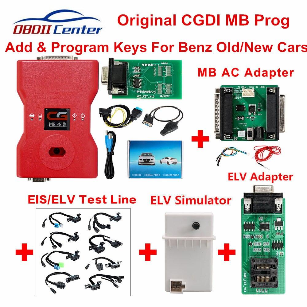 CGDI completo Prog MB Para Benz Programador Chave Auto Simulador Adaptador AC ELV CGDI Pro OBDII Chave Transponder Adicionar Novo teclas de 360 Fichas