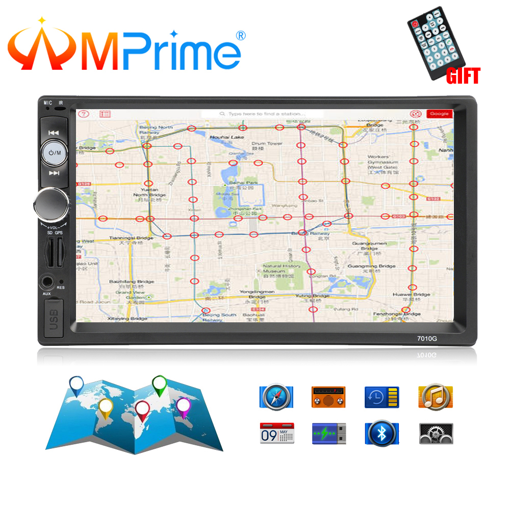 AMPrime 7010G 2 Din Autoradio GPS Navigation Autoradio Bluetooth AUX USB MP3 stéréo Audio FM Radio 2din lecteur multimédia caméra