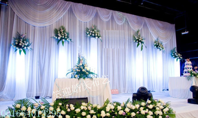 20ft 10ft White Wedding Backdrop With Swags Event And Party Fabric Beautiful Curtains