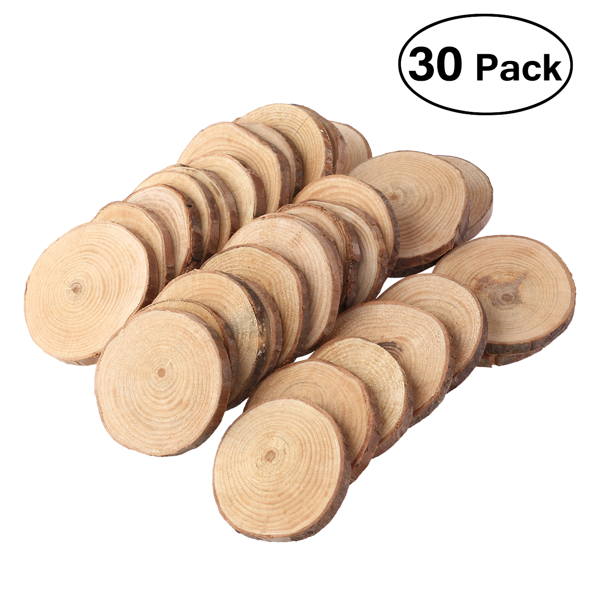 30pcs Wood Log Slices Discs Cutout Circle Round Wooden Disks Crafts Paint Decor Wooden For Wedding DIY Decoration