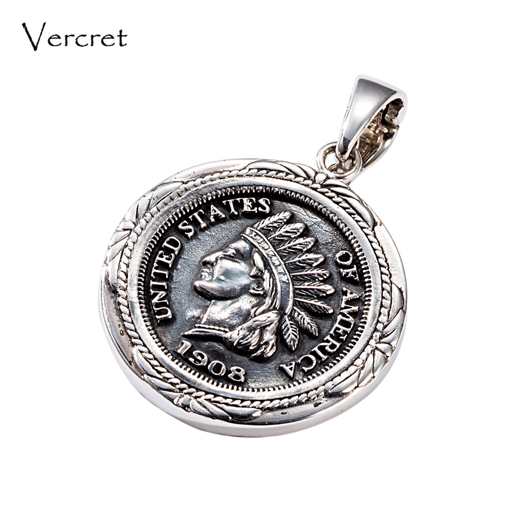 Vercret Vintage Indian Head Penny 925 Jewelry Native American Charms Pendent for Men Women Gift with Turquoise Necklace Pendent все цены