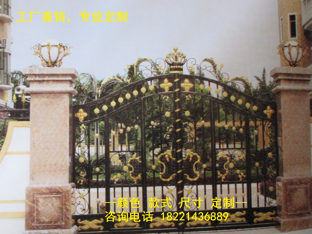 Custom Made Wrought Iron Gates Designs Whole Sale Wrought Iron Gates Metal Gates Steel Gates Hc-g64
