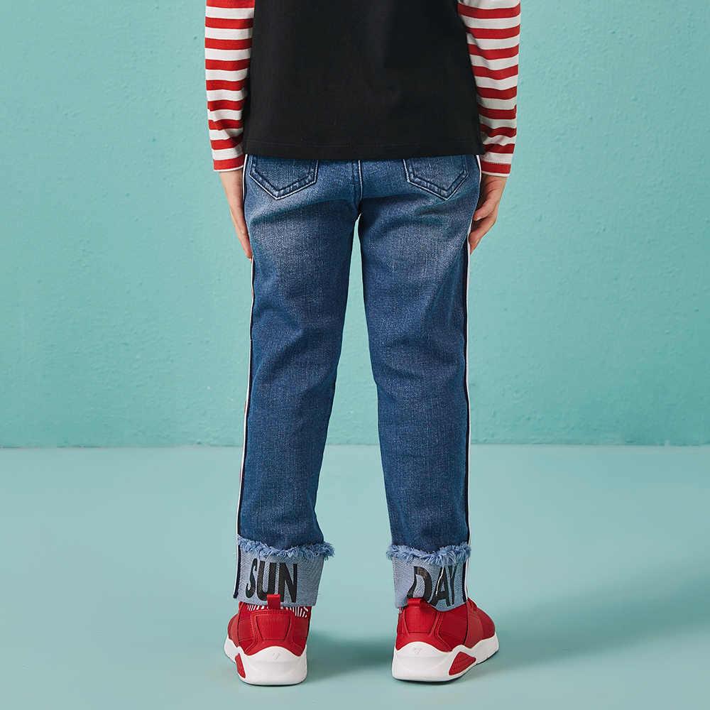 Balabala/прямые джинсы с дырками и манжетами для мальчиков, Модные узкие джинсы, леггинсы для мальчиков, осенние брюки для детей