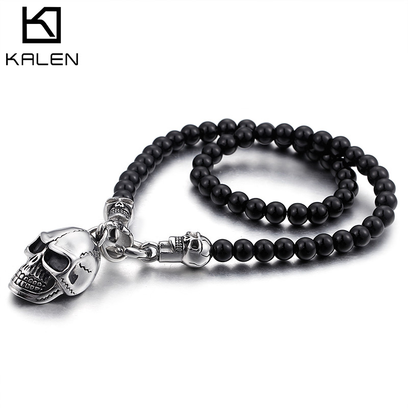 Kalen custom length Glass Beads Chain Necklace For Men Punk Stainless Steel Skull Pendant Necklace Jewelry equte pssm92c5 fashionable men s titanium steel glass pendant necklace blue silver