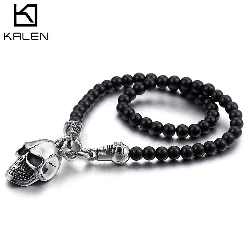 Kalen custom length Glass Beads Chain Necklace For Men Punk Stainless Steel Skull Pendant Necklace Jewelry punk style skull pendant choker necklace for women