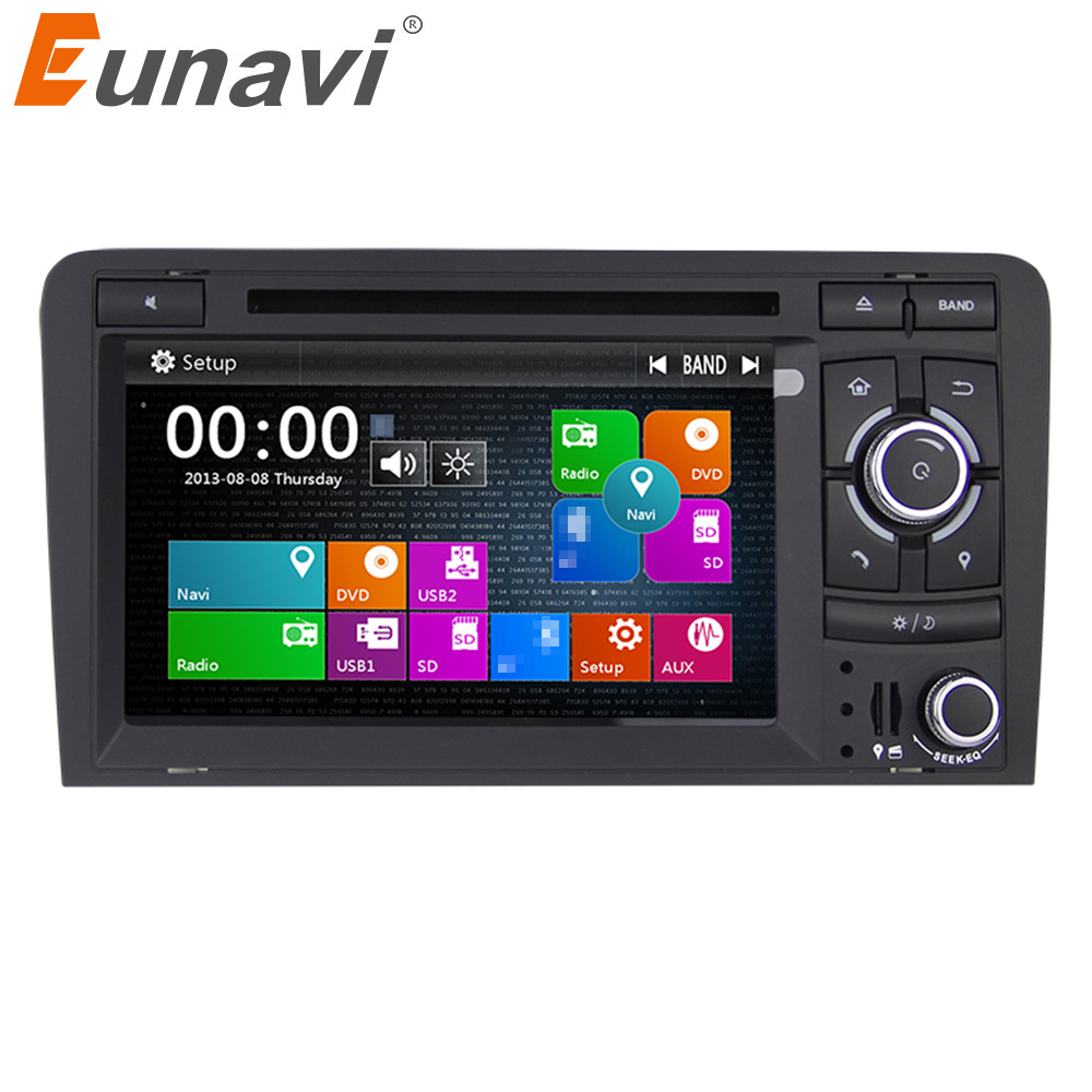 Eunavi 2 Din 7 inch Car GPS Navigation DVD Player Stereo Video For Audi A3 2003-2013 S3 RS3 in dash touch screen usb dab+ swc