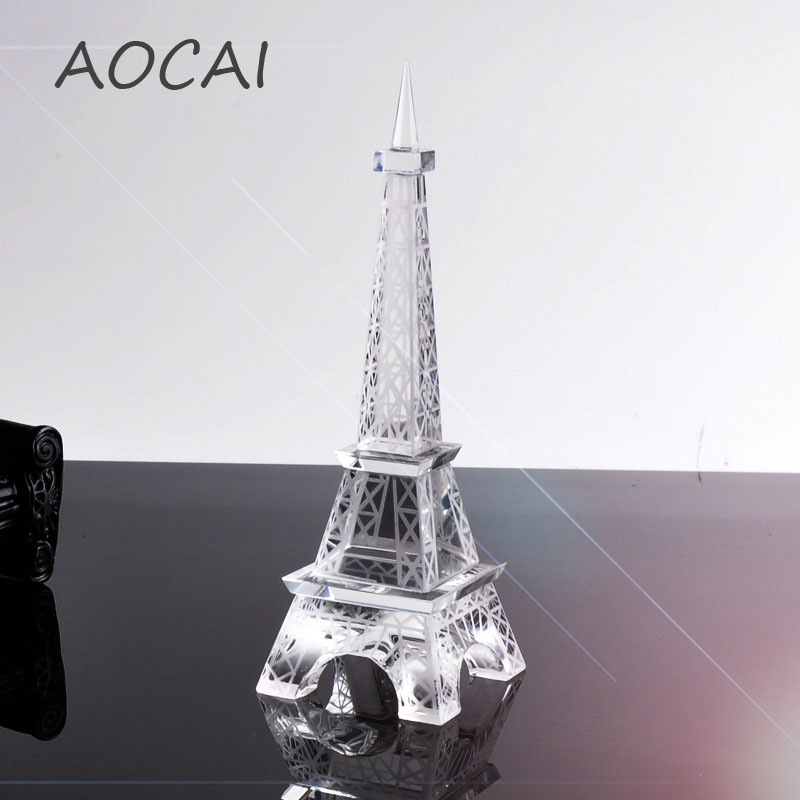 1pc Creative Gifts 15cm Or 18cm Aocai Crystal Art Crafts Paris Eiffel Tower Model Figurine Statue
