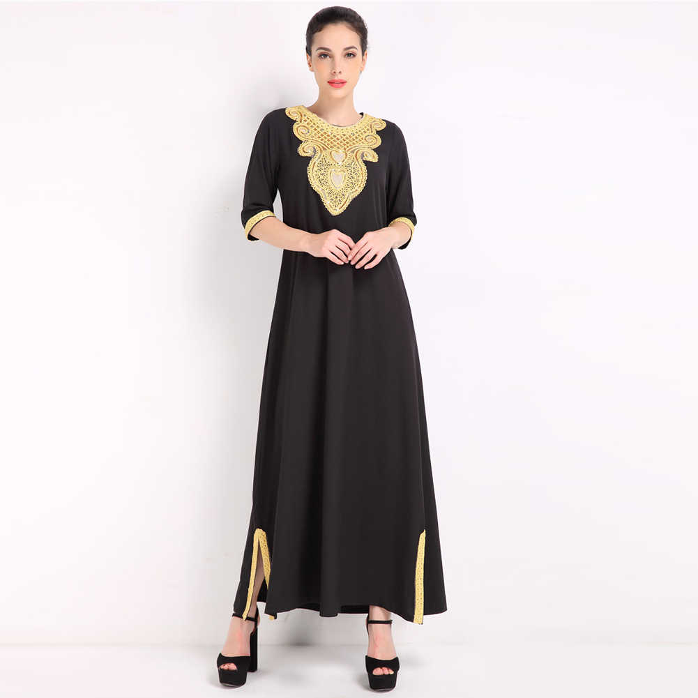 ... 2019 Fashion Elegant Women Muslim Dress Half Sleeve Sequined Split Abaya  Kaftan Islamic Arab Robe Maxi ... dd757cf65c34