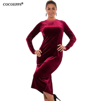 COCOEPPS 5XL 6XL Winter Women Velvet Dresses 2017 Big Size Long Sleeve Bodycon Dress Plus Size