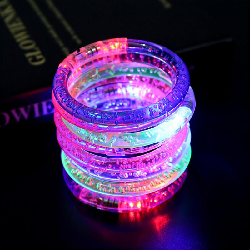 Light Up Bracelet Acrylic Flash LED Light Emitting Electronic Bracelet Luminous Glowing Bracelet Toys For Christmas
