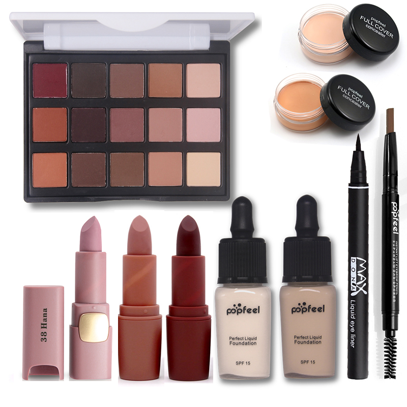 Basic Cosmetics Makup Set Including Matte Eyeshadow Lipstick Eyebrow Pencil Eyeliner Foundation Concealer Makeup Kit Maquiagem все цены