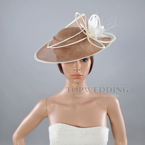 Free shipping sinamay feather wedding dress church hat for Dress hats for weddings