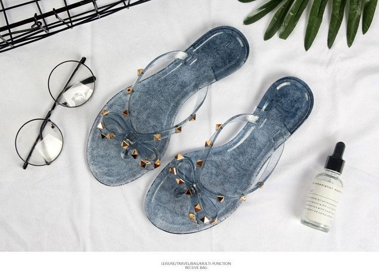 HTB1zz0siXkoBKNjSZFkq6z4tFXa6 Hot 2018 Fashion Woman Flip Flops Summer Shoes Cool Beach Rivets big bow flat sandals Brand jelly shoes sandals girls size 36-41