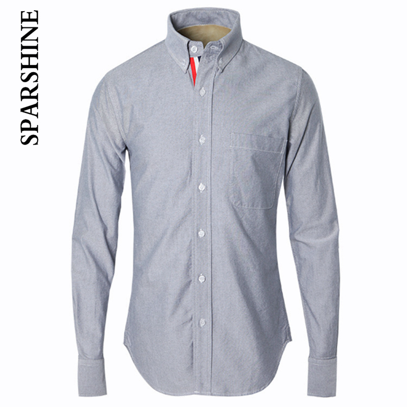 2016 New Autumn Luxury Brand Clothing Men Shirt Long Sleeve Solid color Gray Slim Fit Shirt High-quality Casual Shirts Men