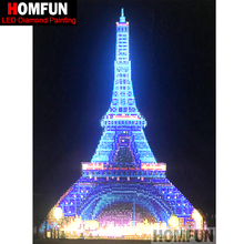 "HOMFUN LED אור מלא עגול תרגיל 5D DIY יהלומי ציור ""מגדל אייפל"" 3D רקמת צלב סטיץ 5D דקור מתנה 30x40cm"