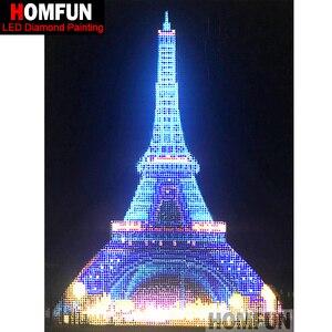 """Image 1 - HOMFUN LED Tròn Đầy Khoan 5D Tự Làm Tranh Gắn Đá """"Tháp Eiffel"""" 3D Thêu Túi Đeo Chéo 5D Trang Trí tặng 30x40cm"""