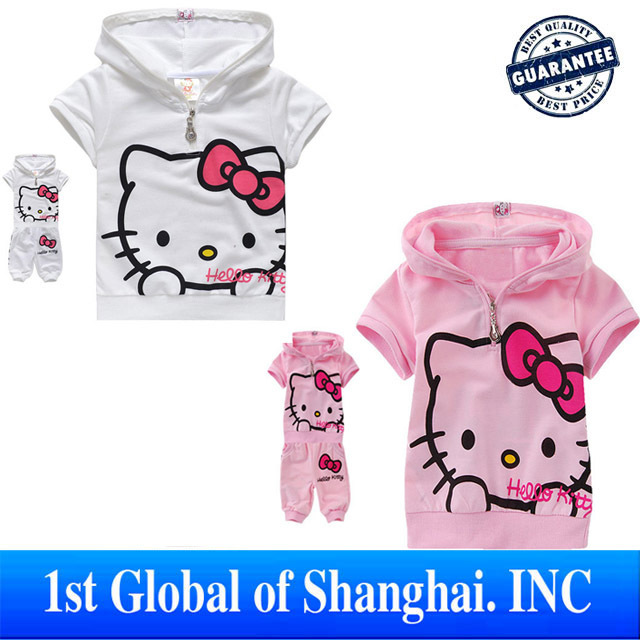 Free Shipping Sale Fashion Lovely Hello Kitty Children Clothing ,Short Sleeve T-Shirt +Pants Children/kids suit, kids clothing