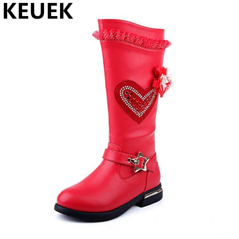 NEW Winter Girls Boots Children Martin boots Princess Knee-High Boots Kids Shoes Girls Baby Fashion Snow Boots Leather 044 2016 new fashion children martin boots girls boys winter shoes kids rain boots pu leather kids sneakers waterproof anti skid