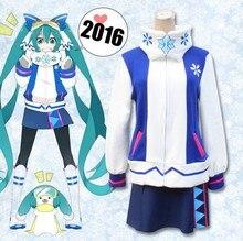 Anime Cosplay Hatsune Miku Hatsune Cos Fiesta de Halloween set Completo 4en1 (Top + Falda + Cuello + bufanda)