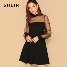 SHEIN Black Mesh Contrast Mock-neck Dress Women 2019 Spring Plain Fit and  Flare Stand 057d2bada93f