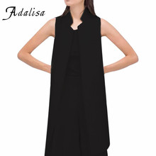 Adalisa 2016 Women Autumn Jacket Female White Black Women Suit Long Cardigan Blazer Vest Waistcoat Sleeveless Jacket Coat