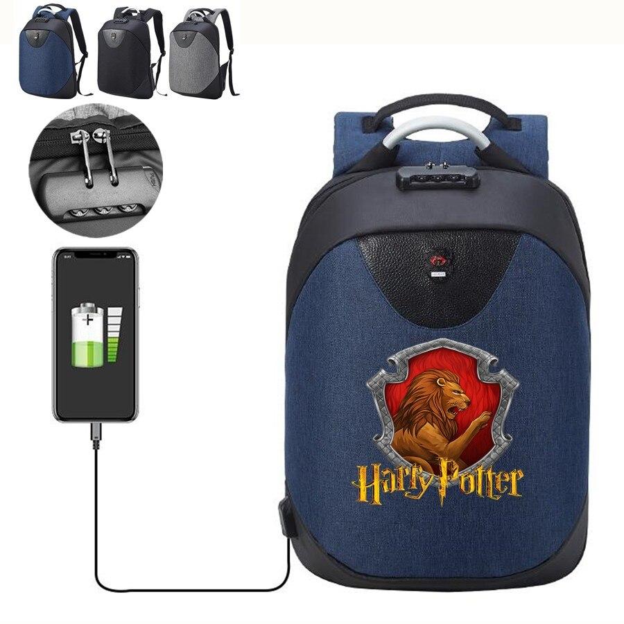 Rucksäcke Harri Potter Hufflepuff Ravenclaw Slytherin Rucksack Mit Usb Lade Port Wasserdichte Schutz Gegen Diebstahl Lock Laptop Bagpack Um Zu Helfen Fettiges Essen Zu Verdauen