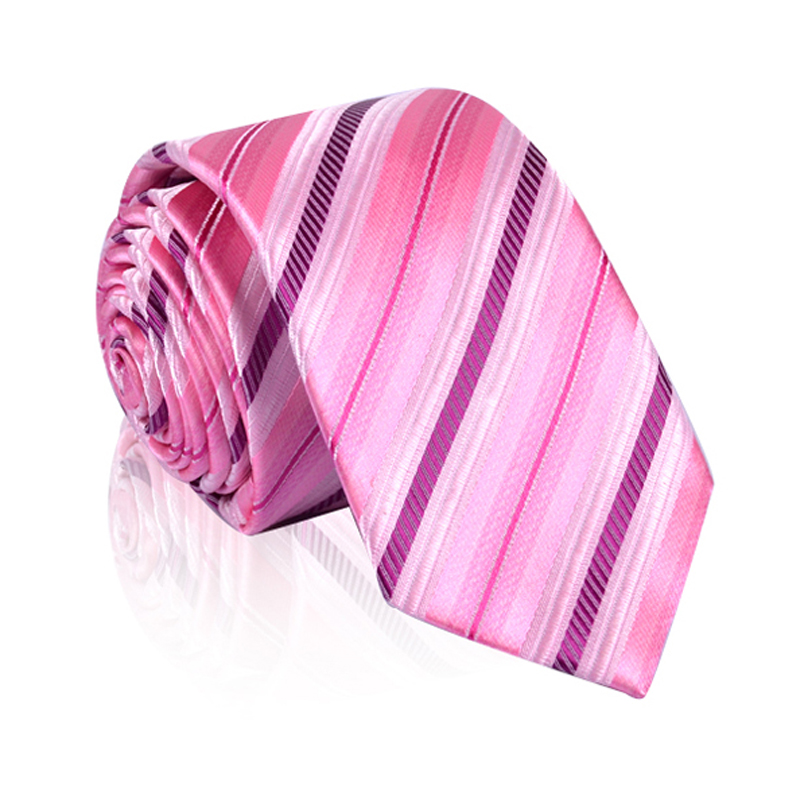 Man Silk Polyester Tie Fashion Striped Jacquard Classic Neckties for men Brand Casual Neckties Pink Red Blue Business ties