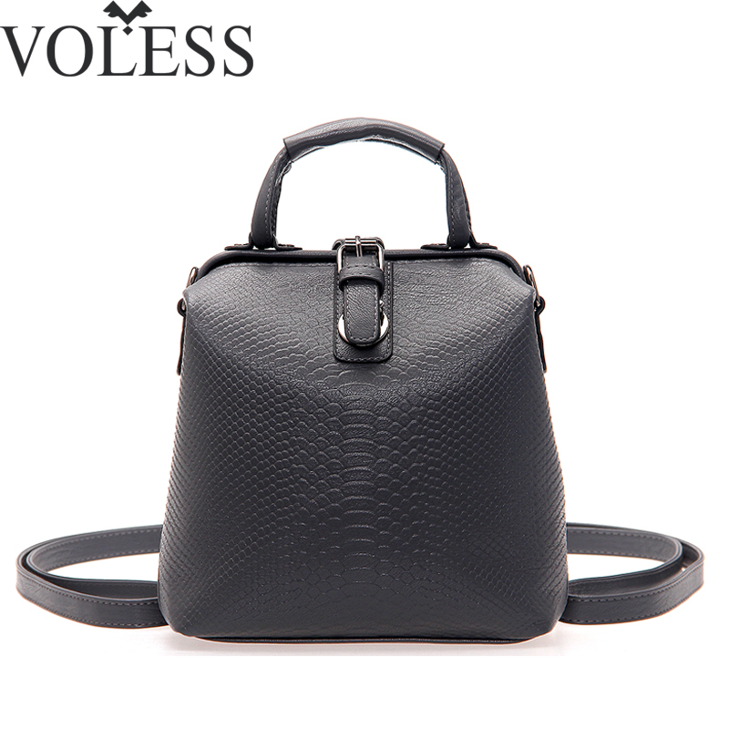 цены  New Hot European style Women Crocodile Pattern Doctor Women Backpack 2017 Famous HASP Belt Bags Women's PU Leather Rucksack Bag