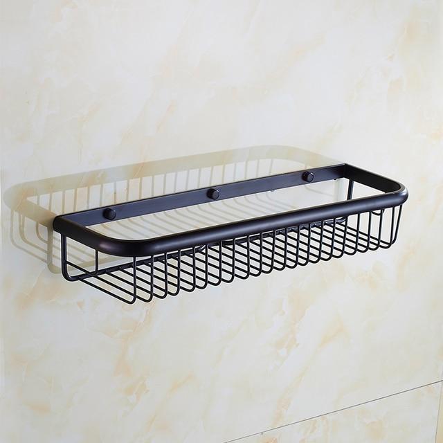 45cm Brass Wall Mounted Bathroom Shelves, Retro Kitchen Storage Shelves  Baskets, Square Antique Copper