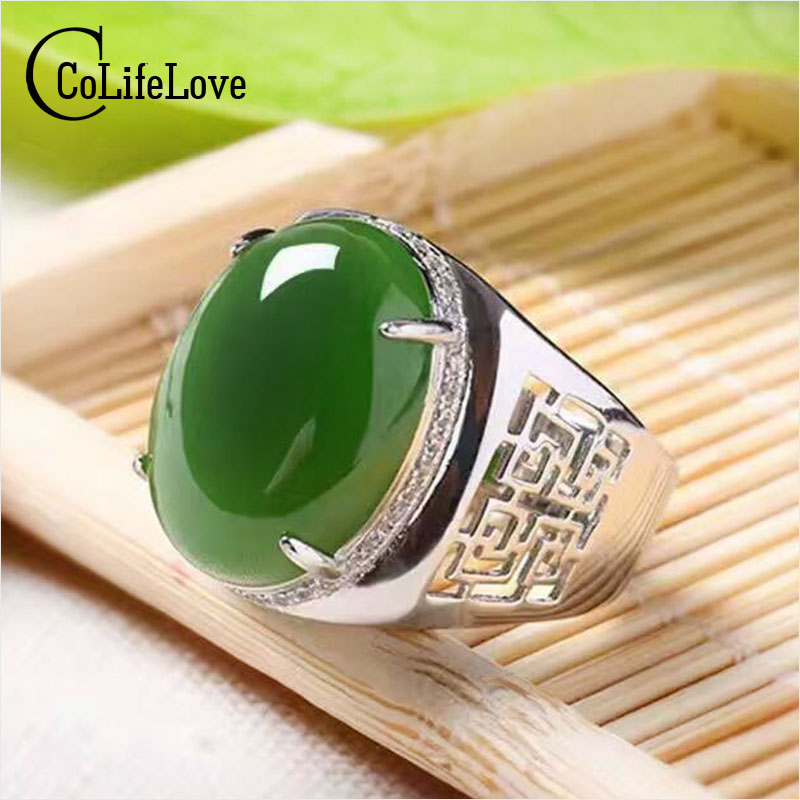Chinese style green jade man's ring 12*16mm natural jade vintage 925 silver gemstone ring for man Luxurious silver man ring vintage artificial jade embossed ring for women