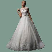 Vestido de noiva 2015 Hot Sale Scoop Neckline Ivory Lace Wedding Dress Sleeves Long Train Bridal Gowns Vestido noiva dia свадебное платье loveforever vestido noiva 2015 w015