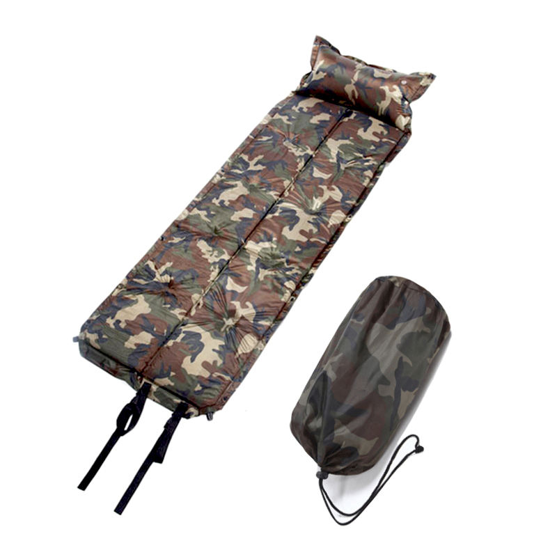 Outdoor Waterproof Dampproof Sleeping Pad Tent Air Mat Mattress Camping Automatic Inflatable Mat with Pillow 185*60*2.5CM