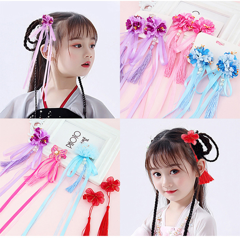 2pcs/set Multi Style Girls Hair Clips Chinese Traditional Princess Tassels Peony Flower Hairpins Children Kids Hair Accessories