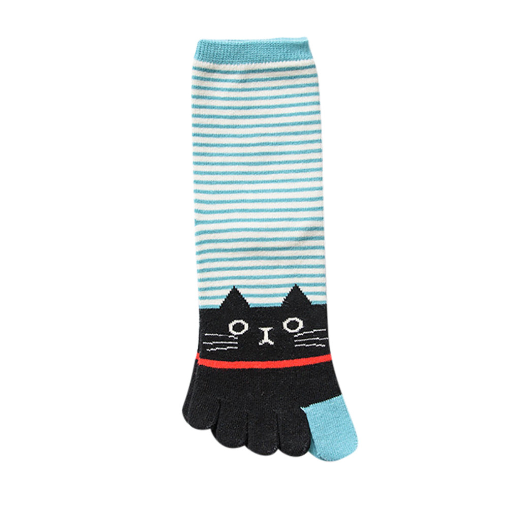 JAYCOSIN Cat Print Multicolor Women Cotton Breathable Toe Socks Casual Ankle Five Finger Socks toe socks ankle  five Toe 9030921