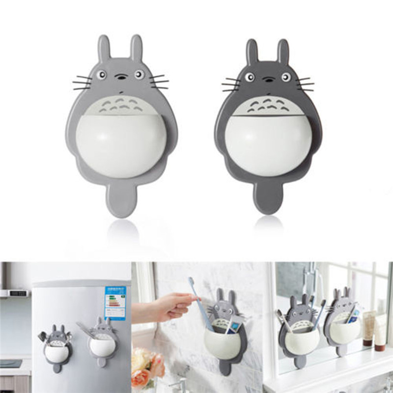 1Pcs Toothbrush Cute Totoro Wall Mount Toothbrush Holder Bathroom
