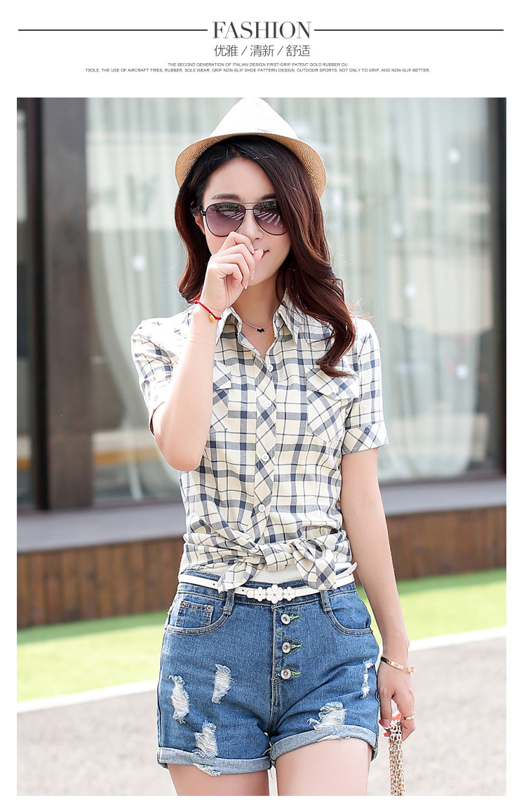 HTB1zz2FHFXXXXXyXVXXq6xXFXXXX - New 2017 Summer Style Plaid Print Short Sleeve Shirts Women