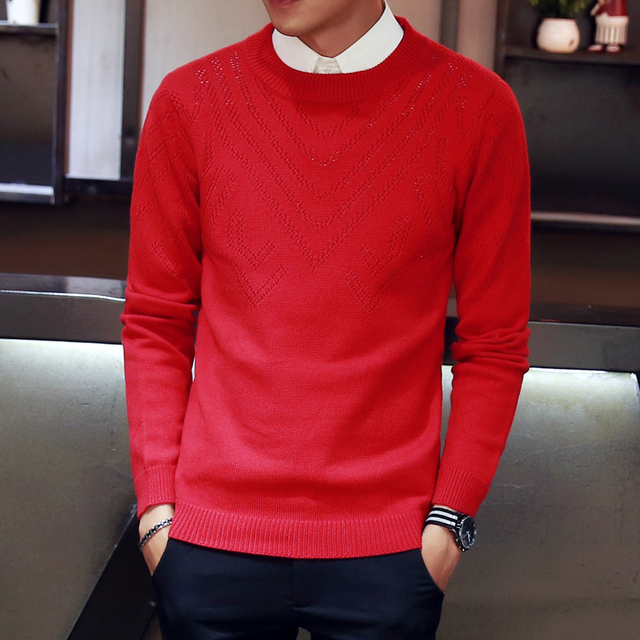 2017 Autumn New Sweater Men Fashion Round Collar Hollow V-Shape Knitted Mes Casual Jumpers Slim Fit Pull Homme Mens Sweaters 3xl