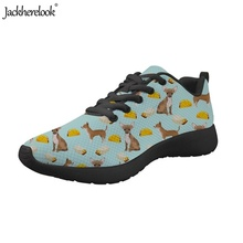 Jackherelook Adults Mesh Footwear Cartoon Chihuahua Puzzle Pattern Sports Shoes Lightweight Gym Trainers Men Shoe Athletic 35-48