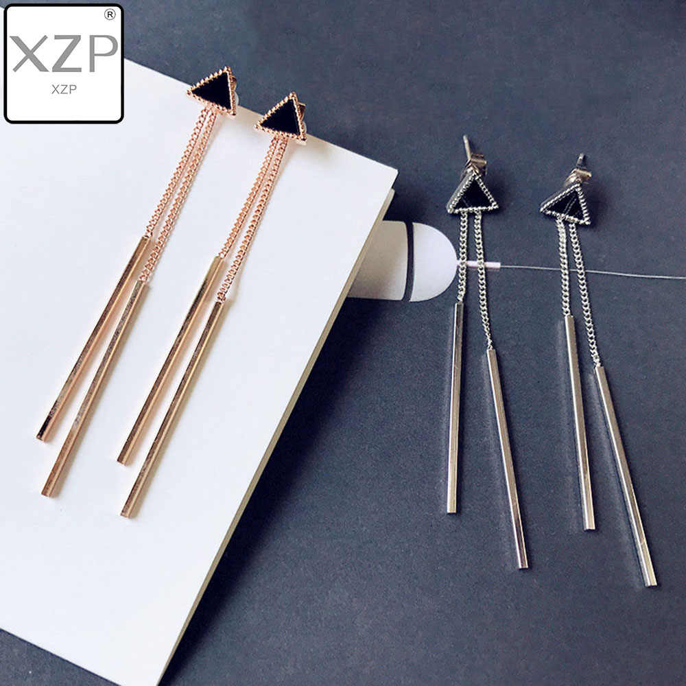 XZP Enamel Triangle Long Earrings Tassel Chain Earrings Anti-allergic Earrings For Women Long Earrings Boucle D'oreille Femme